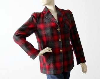 Merrill Woolens blazer, vintage plaid wool women's jacket, 49er jacket