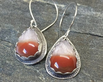 Agate Creek Agate Earrings, Handmade, Sterling Silver, Orange Striped Agate, Modern, Great with Jeans, Casual Earrings, Pear Shaped Earrings