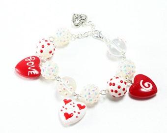 Heart Charm Bracelet, Sweetheart Bracelet, Valentines Bracelet, Valentines Gift