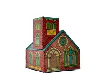 J Chein Church Bank Tin Bank by J. CHEIN & CO. Red Church Tin Toy Litho Coin Bank