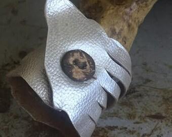 Vintage Silver Leather Wrist Wrap Cuff Bracelet