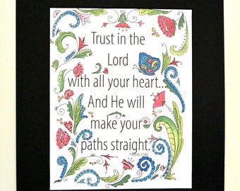 Trust In the Lord floral typography art print Proverbs 3 Christian art 8x10