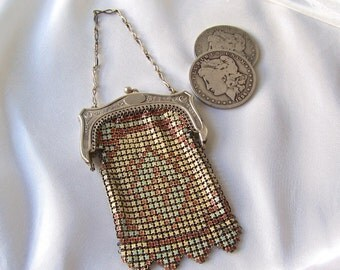 Vintage Mesh Coin Purse Enamel Art Deco Metal Chain Mail Purse Wedding Gift Something Old 1920s