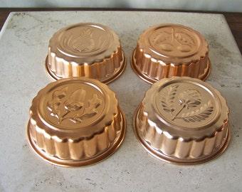 Vintage Molds Aluminum Copper Tone Molds Kitchen Moulds Acorn Berry Cherry Pineapple Moulds Hanging Copper Tone Molds Vintage 1970s