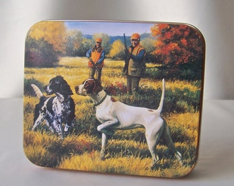 Vintage Hunting Dog Tin Small Metal Box Dog Lover 1990s