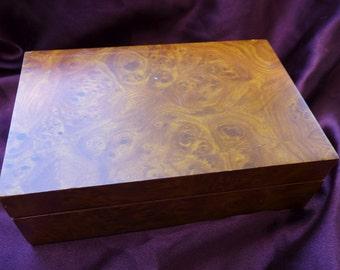 Vintage Faux Wood Jewelry Box / Korea / Blue Velvet