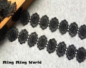 Black Lace Trim - 1.5 Yards  Black Ellipse Flower Lace Applique (L621)
