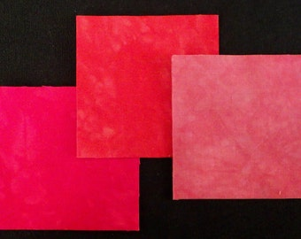 3 Inch Squares WE 3 REDS, 96 Die Cut, Hand Dyed Squares