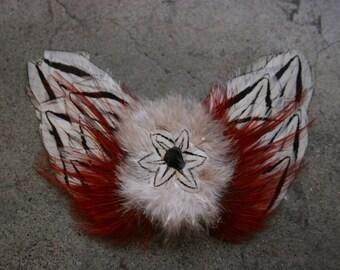 Vtg Handmade Feather Butterfly Hair Barrette Hair Ornament