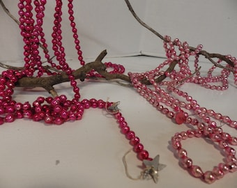 Two vintage strands of pink mercury glass beads- dark and light pink- 17+ feet!