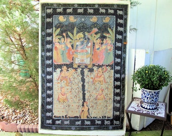 Shrinathjee Painting of Museum Quality from Nathdwara, Rajasthan, India, Vintage-HUGE- 4 ft  x 6 ft