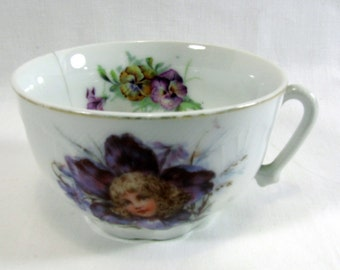 1920s 30s Vintage Heirloom Tea Cup with Sweet Girls Face in a Pansy