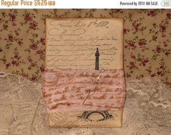 Christmas in July Seam Binding French Script Pink Vintage Colors and Distress Tag ECS