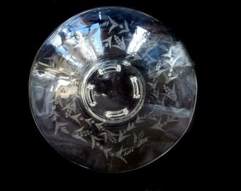 Large  Etched Glass Footed Bowl / Vintage Serveware/ Vintage Glass Bride's Bowl/ Vintage Glass Bowl