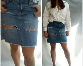 RIPPED DENIM SKIRT, Denim mini skirt, micro mini skirt,  ripped denim,  frayed denim, faded denim, s, m