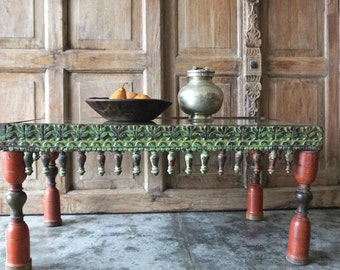 Wooden Table / India Style / With Glass Top / Shipping Included