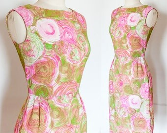 50s 60s Bombshell Wiggle Dress Abstract Geometric Print Op Art Sleeveless M