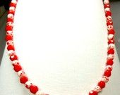 Red and White splotches necklace