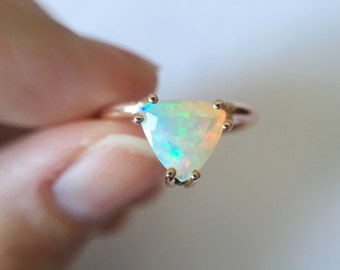 Trillioin Faceted Ethiopian Opal Ring - 14k gold opal ring - faceted welo opal ring - opal engagement ring - triangle stone ring