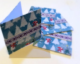 Winter Holiday Card Set, Snowman Christmas Cards, Blue Fabric Covered Greeting Card, Christmas Tree Card Set, Snow Covered Pine Trees Fabric