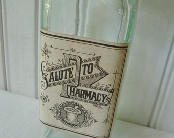 Pharmacy Apothecary Bottle. Salute to Pharmacy. Ayerst Labs Advertising Promotion Bottle. Vintage 1960s 1970s. Aqua Glass, Cork Stopper.