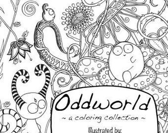 Oddworld Coloring Book Original Odd Art Adult Kids Cartoon Monsters Activity