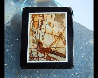 Multi-Color Picasso Jasper With Black Stone Intarsia Gemstone Pendant Bead,42x34x6mm,20.7g