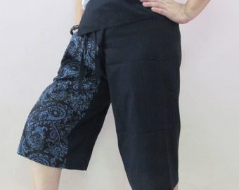 Black 3/4 Thai Fisherman Pants Patch Leg with Printed Cotton