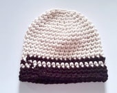 Simple Crochet Beanie Hat Contrast 2 Stripes Made to Order custom color One size fits most warm wool winter autumn