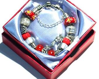 Paradise Charm Bracelet in Red - Temptation - Phoenix Bird