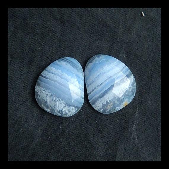 blue lace agate gemstone cabochon pair16x13x5mm3 6g