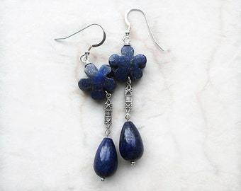 Lapis Earrings, Dark Blue Earrings, Teardrop, Flower Earrings, Lapis Jewelry, Blue Dangle Earrings