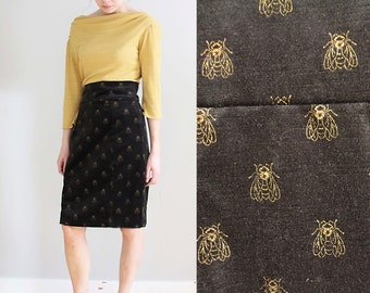 60s insect print wiggle dress,metallic gold and black velvet bee print, size M