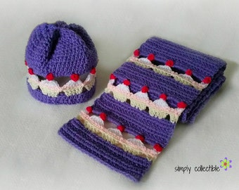 Cupcake Lovers Beanie and Scarf Set crochet patterns - Infant hat to Adult hat Sizes plus Scarf- pdf