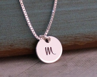 Initial Necklace / Personalized Jewelry / Hand Stamped Necklace / Dainty Necklace / Teeny initial disc