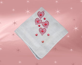 Vintage Hanky with Hearts - 1950s Linen Heart Handkerchief - Red White Valentine's - Lovers Gift