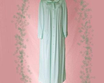Vintage Nylon Long Robe - 80s Shadowline Bathrobe in Aqua - M