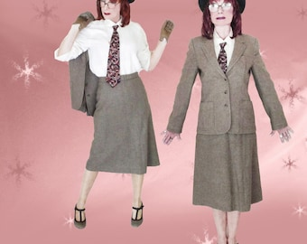 Vintage Tweed Skirt Suit - 70s Classic Preppy A Line Skirt & Tweed Jacket