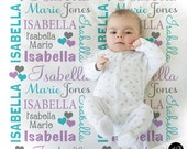 Hearts Name Blanket in lilac aqua and gray for Baby Girl, personalized baby gift, blanket, baby blanket, personalized blanket, choose colors
