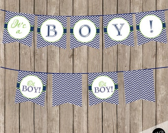 Oh Boy Baby Shower Banner  Lime and Navy  - Baby Shower Banner for Baby Boy Shower OBLN