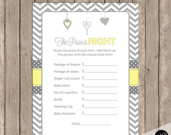 Price is Right Game, Gender Neutral Yellow and Gray Baby Shower Game, baby shower game, yellow and grey baby shower activity,  HYG01