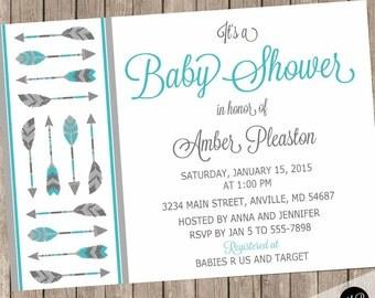 feather invitation | etsy, Baby shower invitations