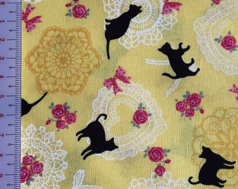 Japanese cotton fabric cat printed Half yard yellow colour