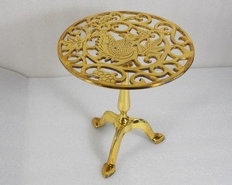 Vintage Brass Pot Stand With Squirrel