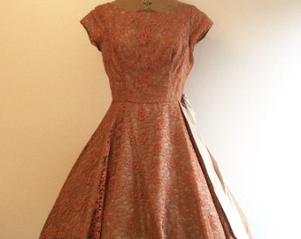 SALE 1950s Party Dress 50s Pink Russet Lace Dress