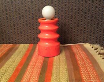 Vintage 1960s 1970s Mod Orange Ceramic Lamp 60s 70s