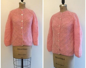 1950s 1960s Mohair Cardigan 50s Pink Made in Italy