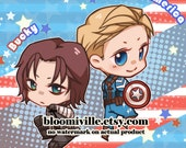 Steve x Bucky pillow // Fanart by Kahira