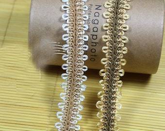 """10 yard 2.8cm 1.1"""" wide ivory/gold braided tapes lace trim ribbon 1736 free ship"""