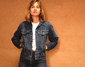 90s denim levi strauss JEAN JACKET women's INDIGO faded jacket coat